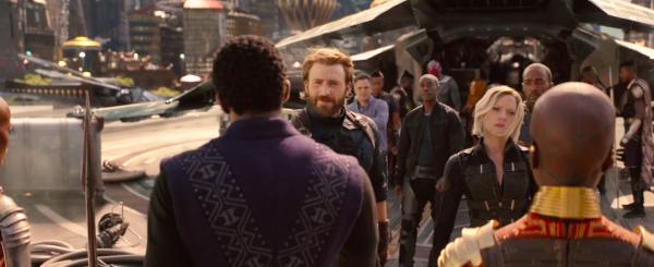Cap and Black Widow landing in Wakanda