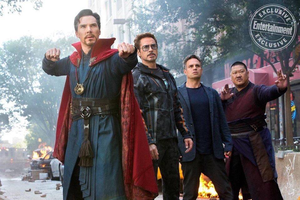 Doctor Strange, Bruce Banner, Tony Stark, and Wong