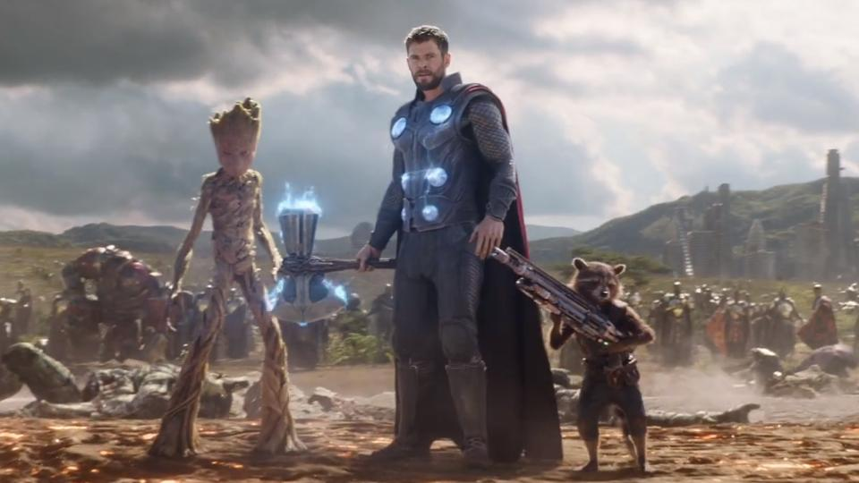 Thor in Wakanda with Rocket and Groot