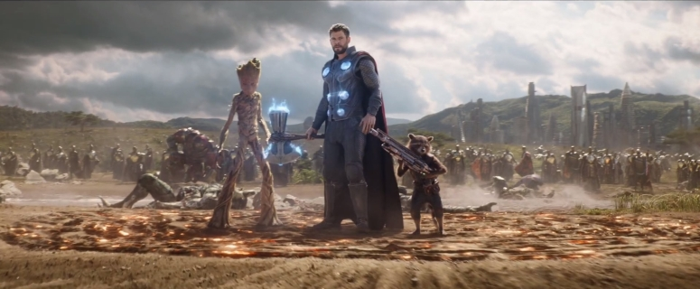 Groot, Thor and Rocket in Wakanda in IW.jpg